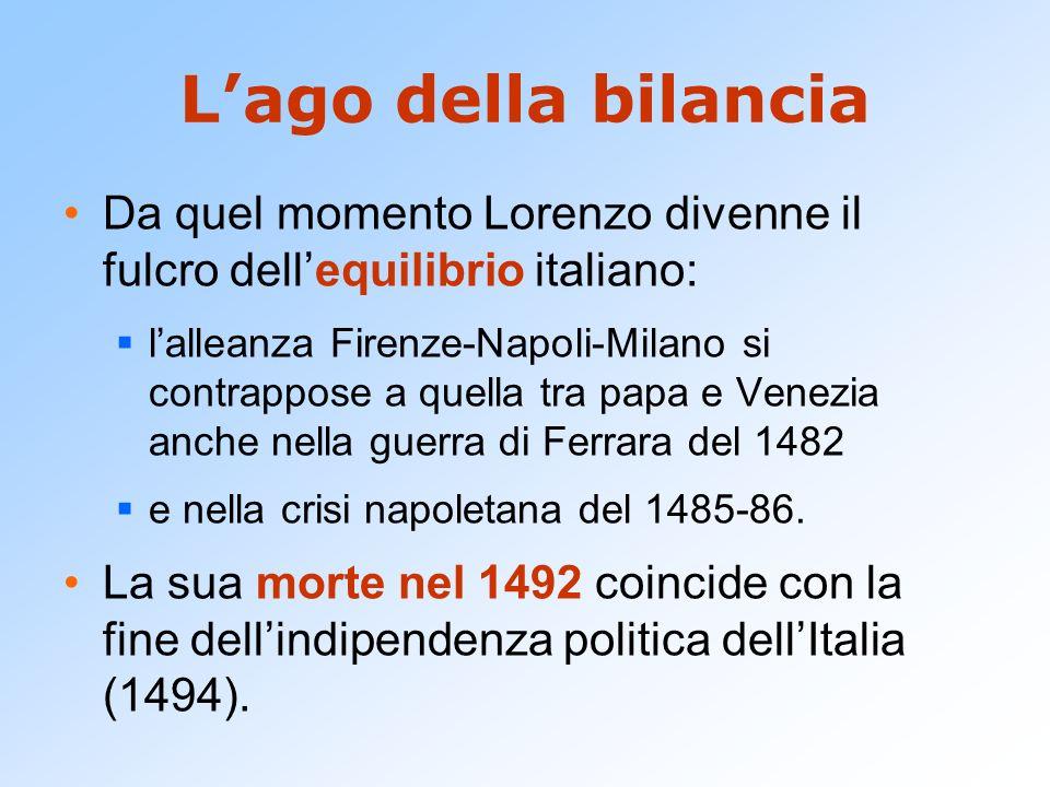 Lago della bilancia Da quel momento Lorenzo divenne il fulcro dellequilibrio italiano: lalleanza Firenze-Napoli-Milano si contrappose a quella tra pap