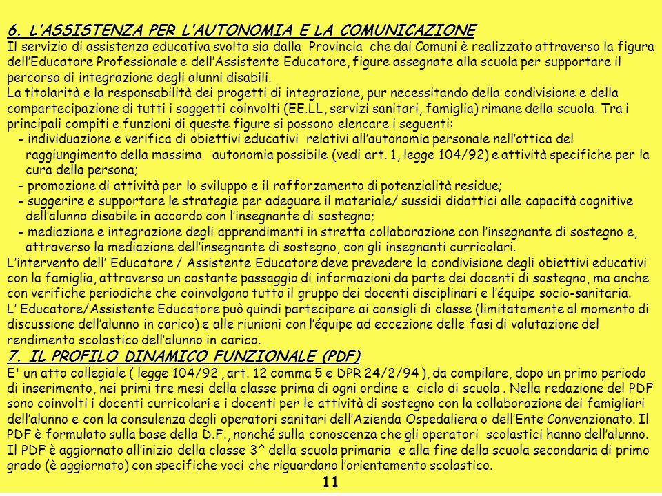 6. LASSISTENZA PER LAUTONOMIA E LA COMUNICAZIONE Il servizio di assistenza educativa svolta sia dalla Provincia che dai Comuni è realizzato attraverso