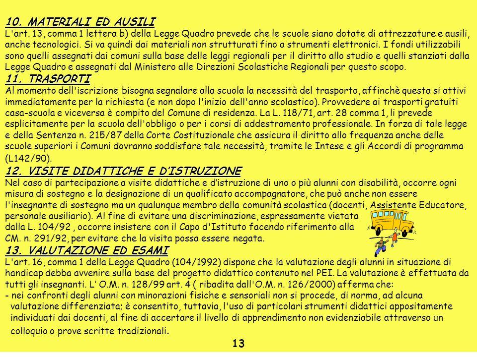 10. MATERIALI ED AUSILI L'art. 13, comma 1 lettera b) della Legge Quadro prevede che le scuole siano dotate di attrezzature e ausili, anche tecnologic