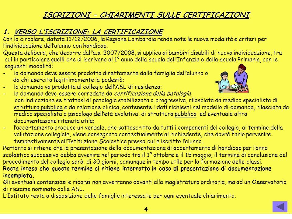 ISCRIZIONI – CHIARIMENTI SULLE CERTIFICAZIONI 1.VERSO LISCRIZIONE: LA CERTIFICAZIONE Con la circolare, datata 11/12/2006, la Regione Lombardia rende n