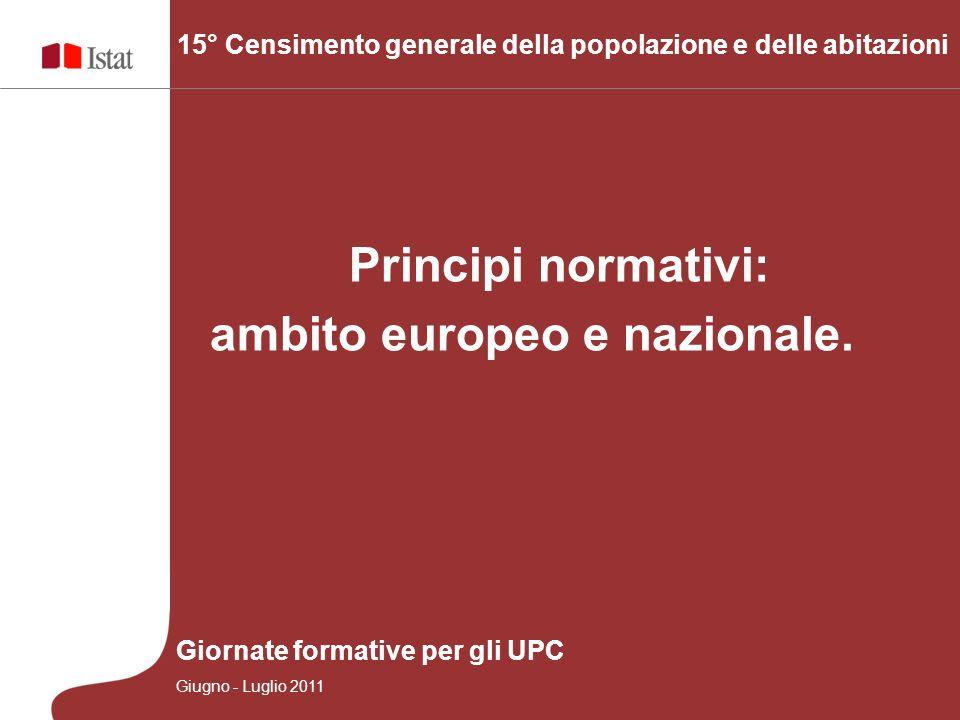 Principi normativi: ambito europeo e nazionale. 15° Censimento generale della popolazione e delle abitazioni Giornate formative per gli UPC Giugno - L