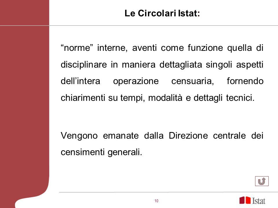 10 Le Circolari Istat: norme interne, aventi come funzione quella di disciplinare in maniera dettagliata singoli aspetti dellintera operazione censuaria, fornendo chiarimenti su tempi, modalità e dettagli tecnici.