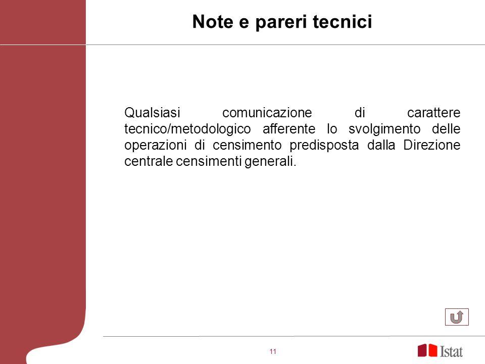 11 Qualsiasi comunicazione di carattere tecnico/metodologico afferente lo svolgimento delle operazioni di censimento predisposta dalla Direzione centr