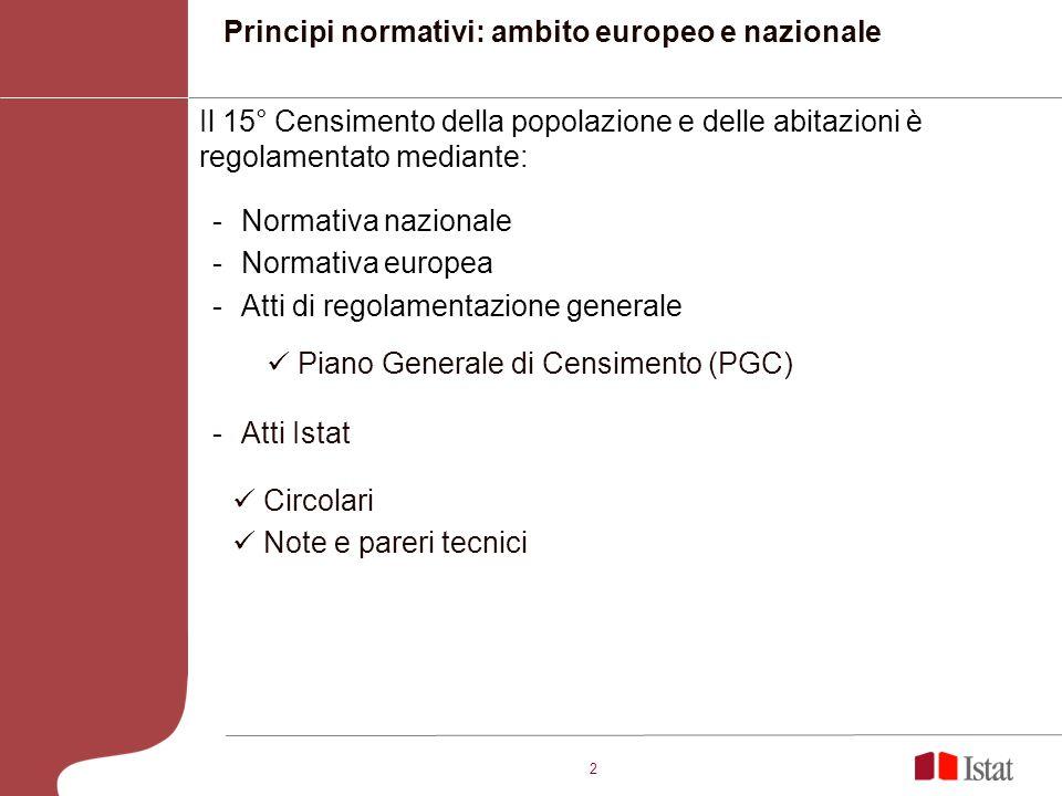 2 Principi normativi: ambito europeo e nazionale Il 15° Censimento della popolazione e delle abitazioni è regolamentato mediante: -Normativa nazionale