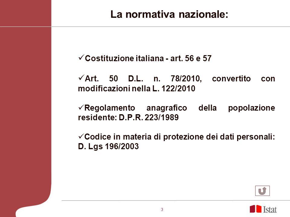 3 La normativa nazionale: Costituzione italiana - art. 56 e 57 Art. 50 D.L. n. 78/2010, convertito con modificazioni nella L. 122/2010 Regolamento ana
