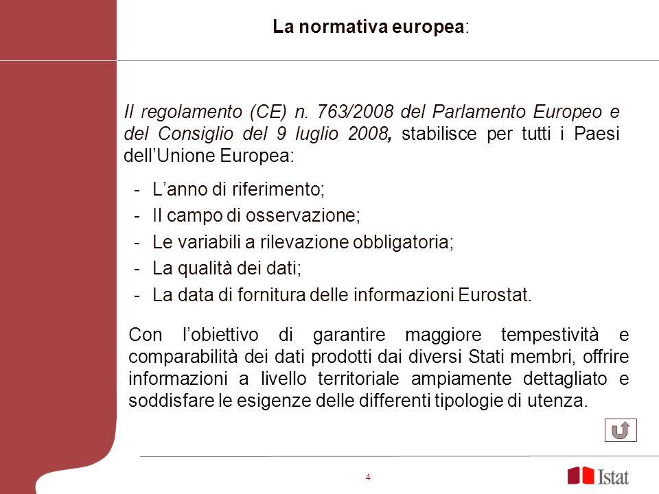 4 -Lanno di riferimento; -Il campo di osservazione; -Le variabili a rilevazione obbligatoria; -La qualità dei dati; -La data di fornitura delle informazioni Eurostat.
