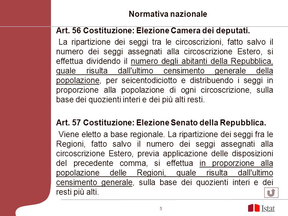 5 Normativa nazionale Art. 56 Costituzione: Elezione Camera dei deputati. La ripartizione dei seggi tra le circoscrizioni, fatto salvo il numero dei s
