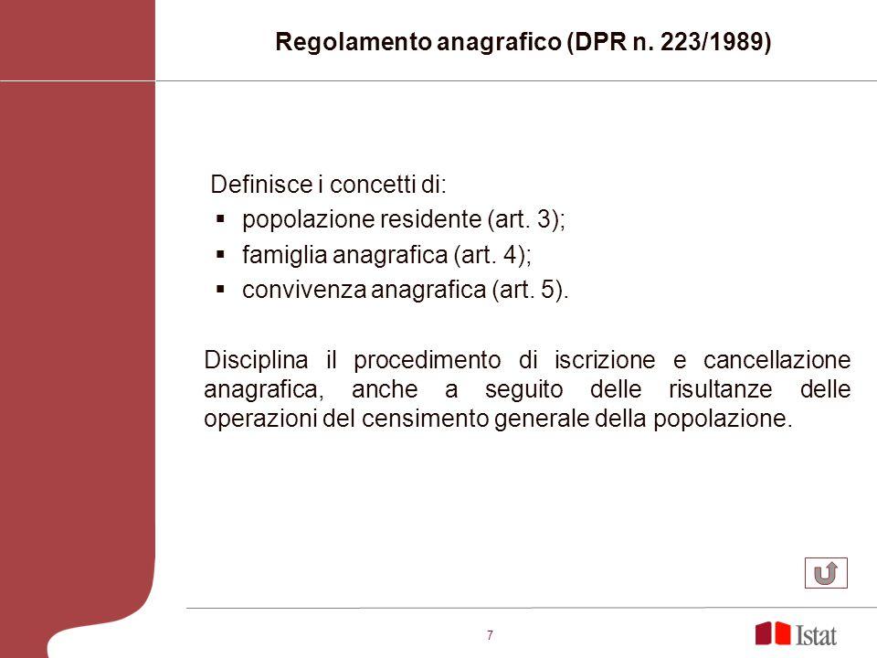 7 Definisce i concetti di: popolazione residente (art. 3); famiglia anagrafica (art. 4); convivenza anagrafica (art. 5). Disciplina il procedimento di