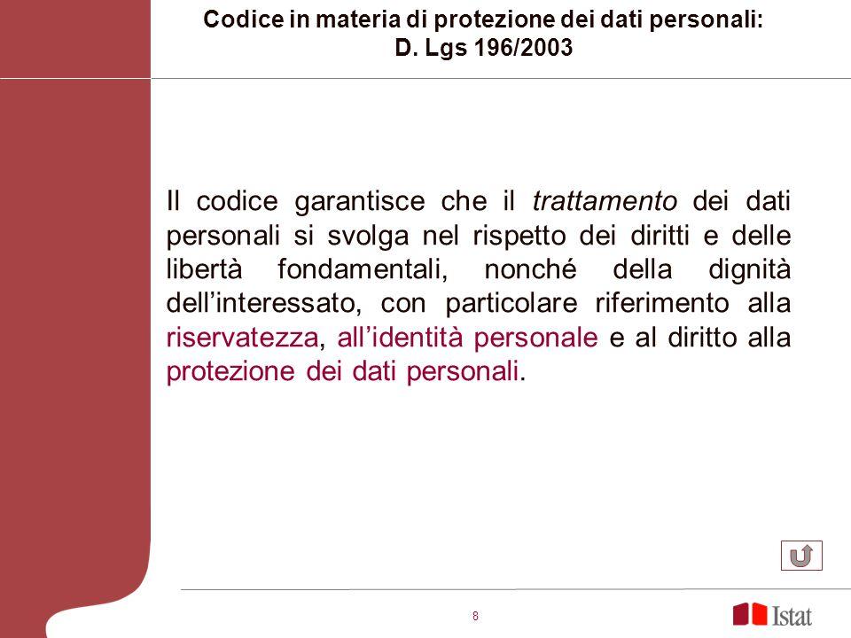 8 Il codice garantisce che il trattamento dei dati personali si svolga nel rispetto dei diritti e delle libertà fondamentali, nonché della dignità dellinteressato, con particolare riferimento alla riservatezza, allidentità personale e al diritto alla protezione dei dati personali.