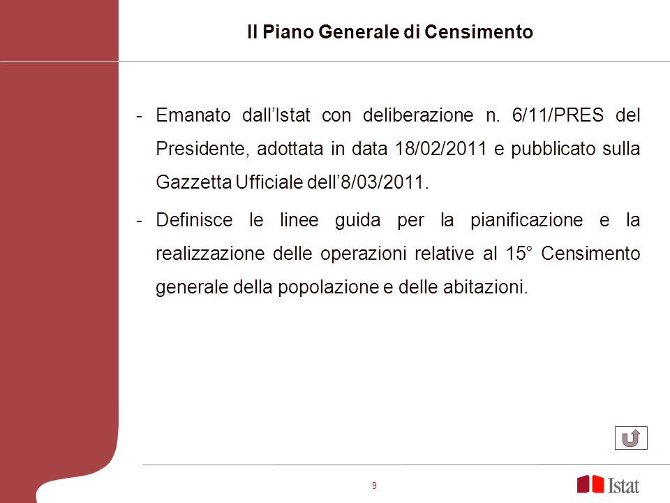 9 -Emanato dallIstat con deliberazione n. 6/11/PRES del Presidente, adottata in data 18/02/2011 e pubblicato sulla Gazzetta Ufficiale dell8/03/2011. -