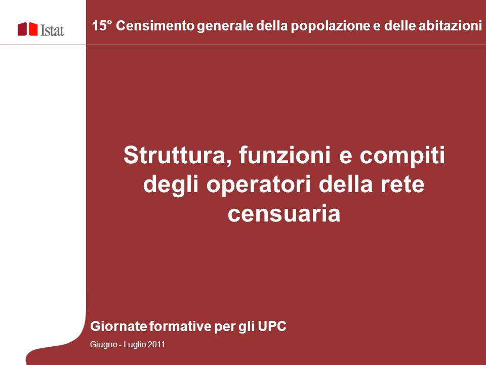 1 15° Censimento generale della popolazione e delle abitazioni Struttura, funzioni e compiti degli operatori della rete censuaria Giornate formative p