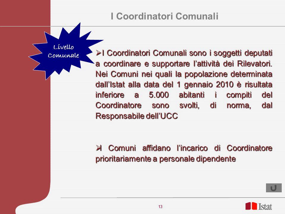 13 I Coordinatori Comunali sono i soggetti deputati a coordinare e supportare lattività dei Rilevatori. Nei Comuni nei quali la popolazione determinat