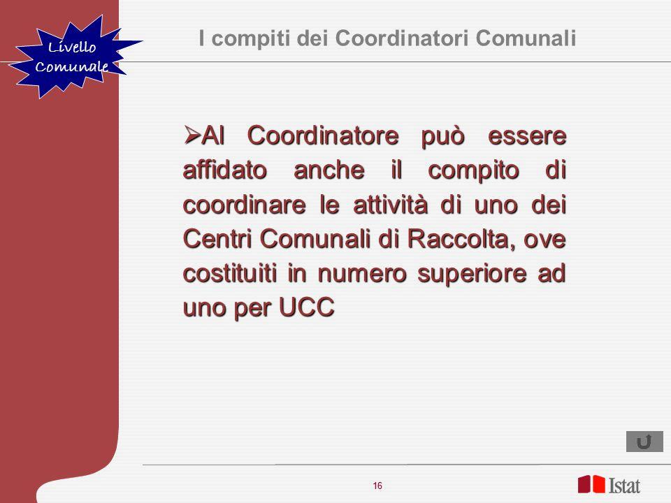 16 I compiti dei Coordinatori Comunali Livello Comunale Al Coordinatore può essere affidato anche il compito di coordinare le attività di uno dei Cent