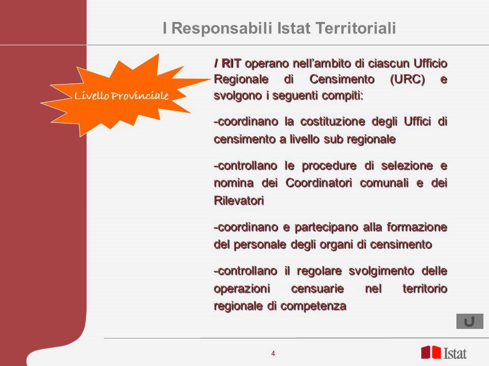 4 4 I RIT operano nellambito di ciascun Ufficio Regionale di Censimento (URC) e svolgono i seguenti compiti: -coordinano la costituzione degli Uffici