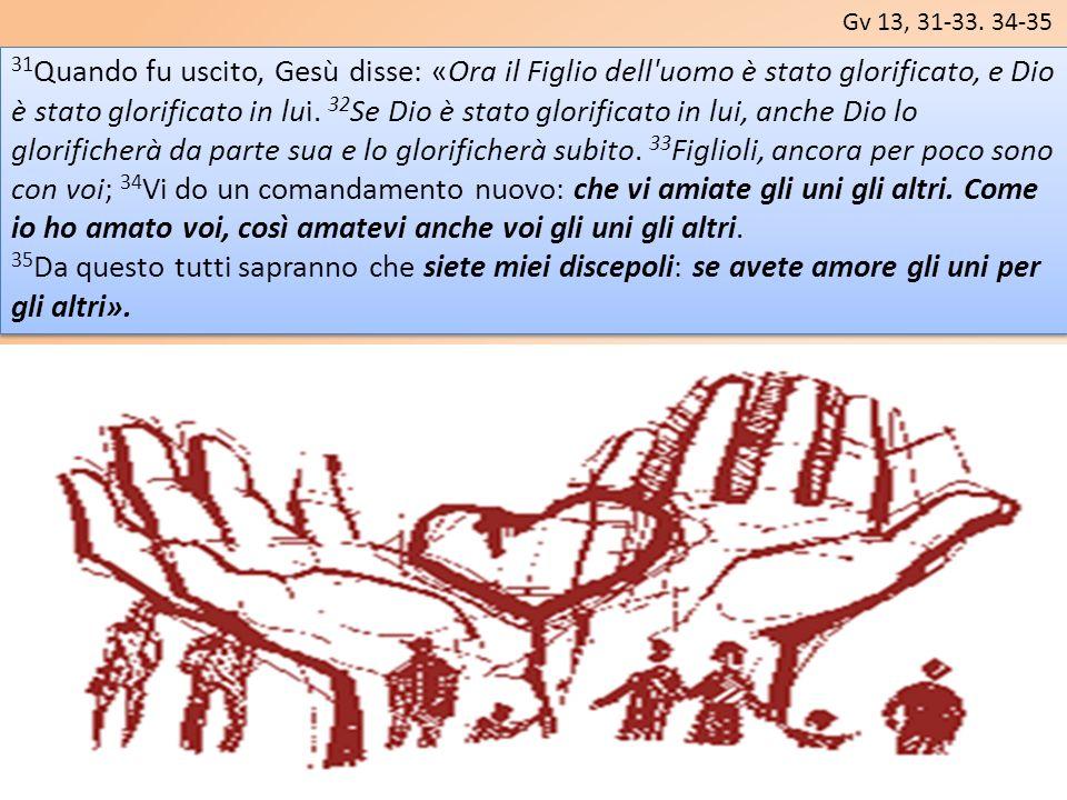 Gv 13, 31-33. 34-35 31 Quando fu uscito, Gesù disse: «Ora il Figlio dell'uomo è stato glorificato, e Dio è stato glorificato in lui. 32 Se Dio è stato