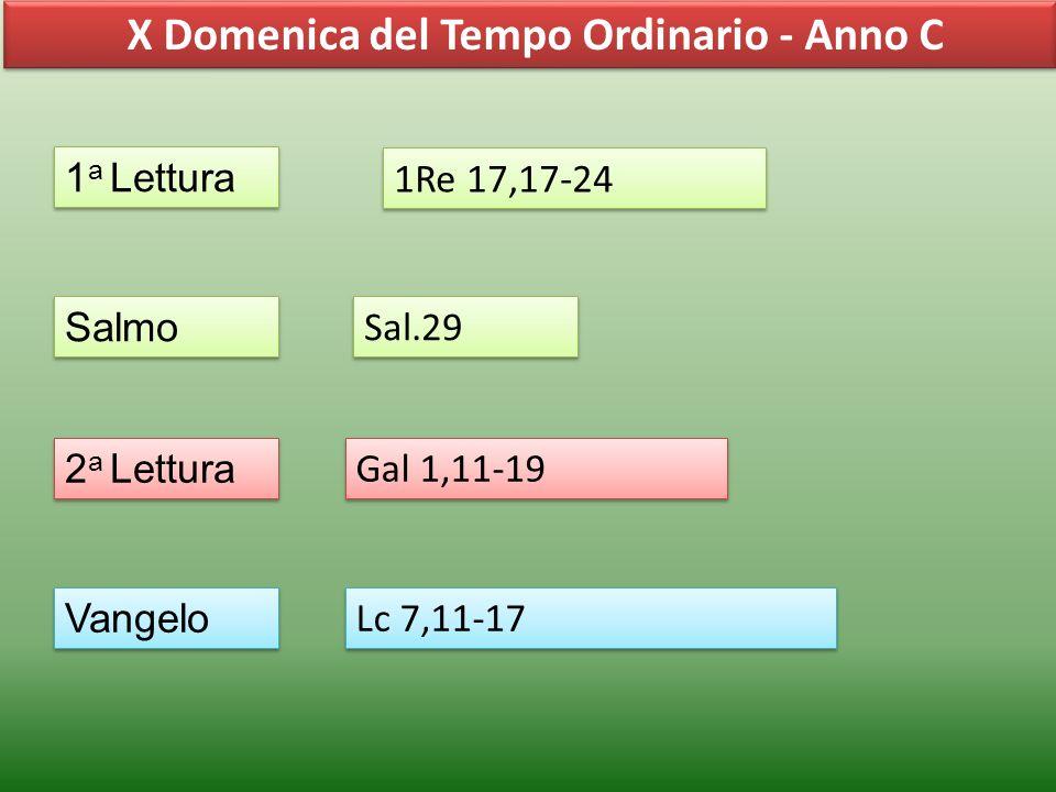 X Domenica del Tempo Ordinario - Anno C 1 a Lettura Salmo 2 a Lettura Vangelo 1Re 17,17-24 Sal.29 Gal 1,11-19 Lc 7,11-17