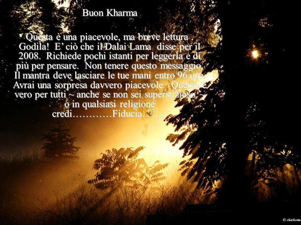 Buon Kharma Questa è una piacevole, ma breve lettura. Godila! E ciò che il Dalai Lama disse per il 2008. Richiede pochi istanti per leggerla e di più