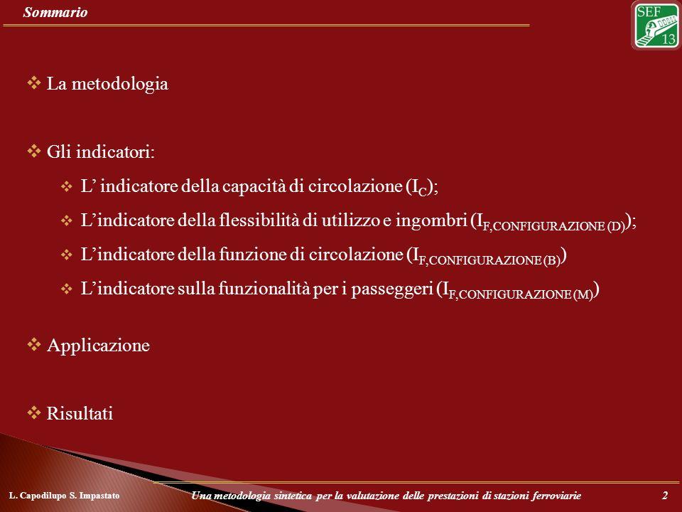 Sommario L. Capodilupo S. Impastato Una metodologia sintetica per la valutazione delle prestazioni di stazioni ferroviarie2 La metodologia Gli indicat