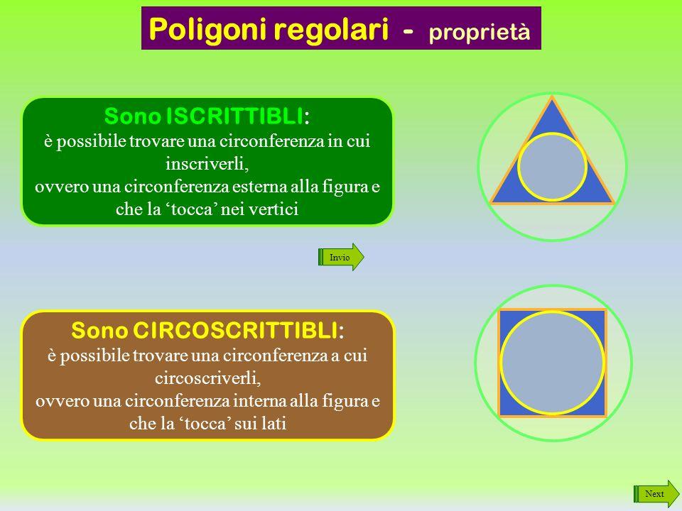 Poligoni regolari Next 3 lati Triangolo Equilatero 4 lati Quadrato 5 lati PENTAgono 6 lati ESAgono 8 lati OTTAgono 12 lati DODECAgono