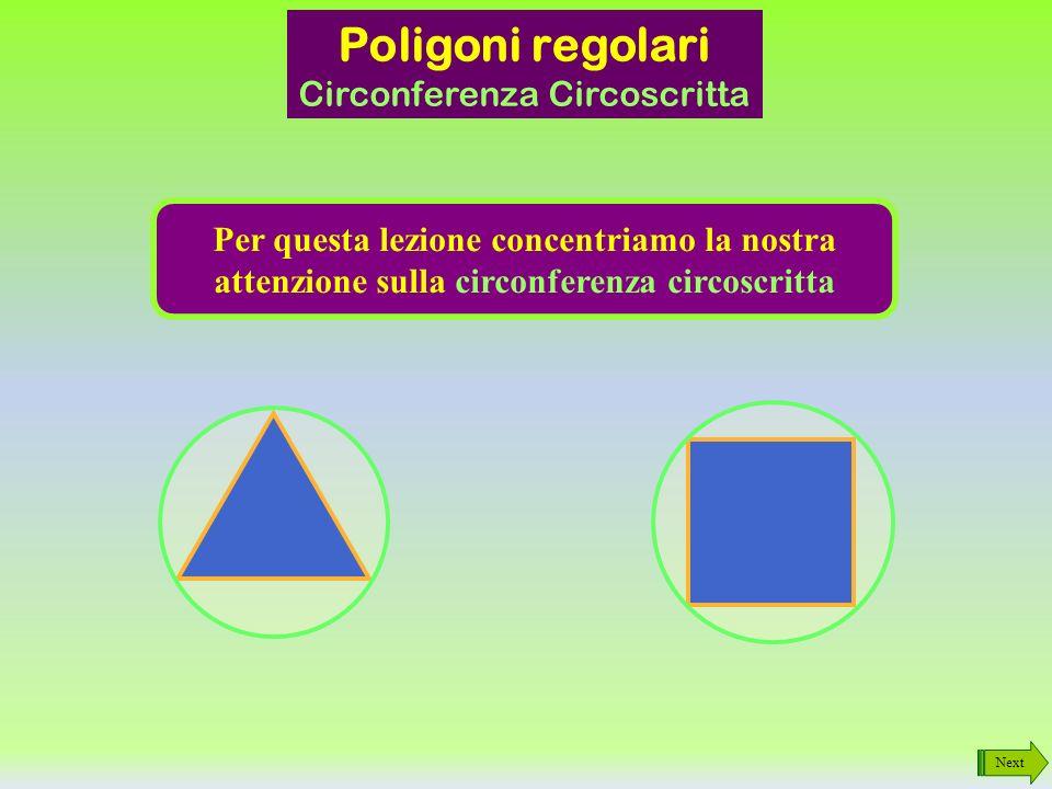 Poligoni regolari - proprietà Next Sono ISCRITTIBLI: è possibile trovare una circonferenza in cui inscriverli, ovvero una circonferenza esterna alla figura e che la tocca nei vertici Sono CIRCOSCRITTIBLI: è possibile trovare una circonferenza a cui circoscriverli, ovvero una circonferenza interna alla figura e che la tocca sui lati Invio