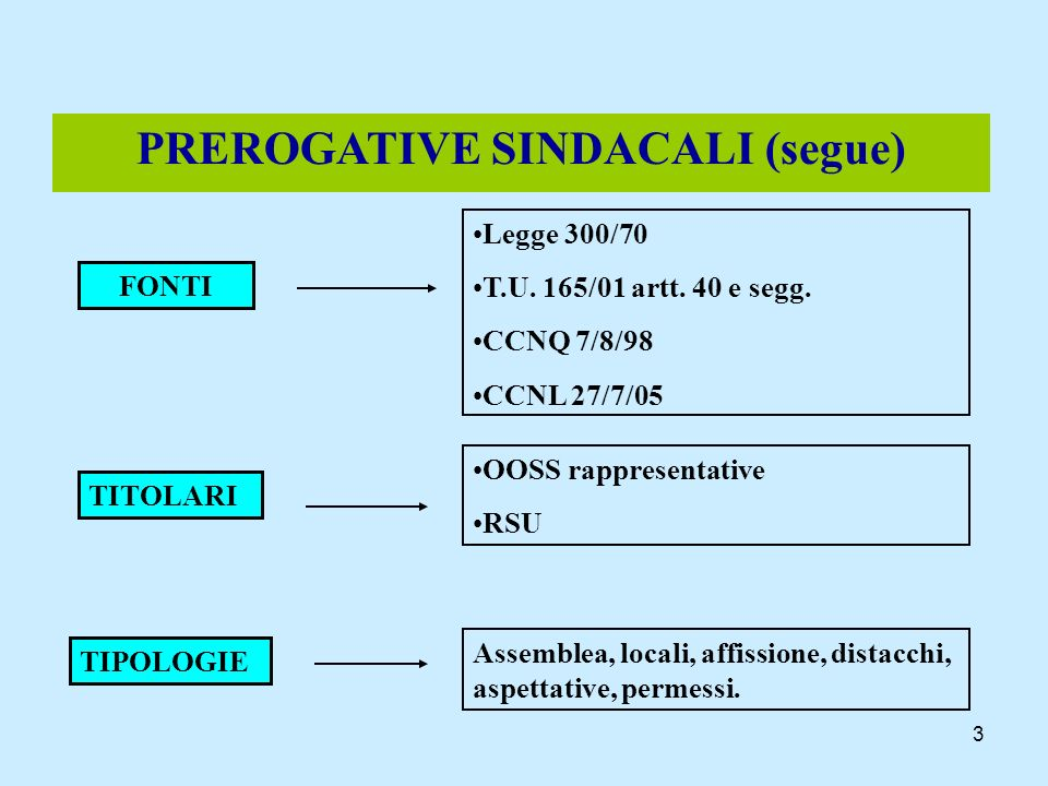 3 PREROGATIVE SINDACALI (segue) FONTI Legge 300/70 T.U. 165/01 artt. 40 e segg. CCNQ 7/8/98 CCNL 27/7/05 TITOLARI OOSS rappresentative RSU TIPOLOGIE A
