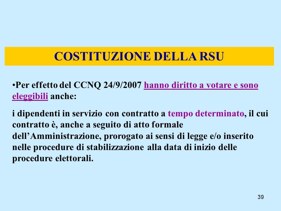 39 COSTITUZIONE DELLA RSU Per effetto del CCNQ 24/9/2007 hanno diritto a votare e sono eleggibili anche: i dipendenti in servizio con contratto a temp
