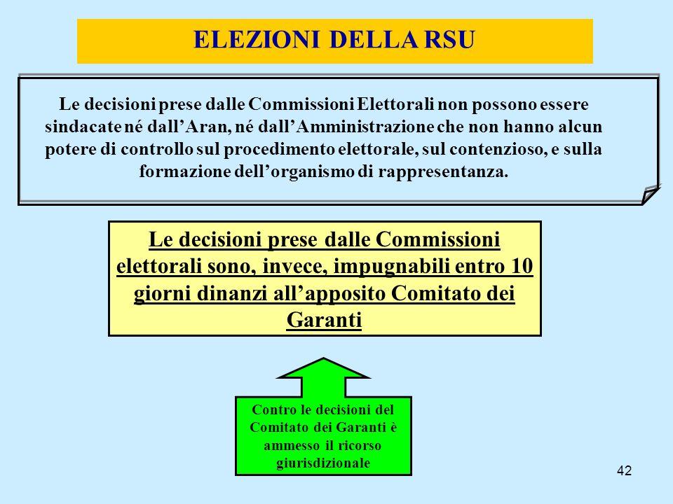 42 ELEZIONI DELLA RSU Le decisioni prese dalle Commissioni Elettorali non possono essere sindacate né dallAran, né dallAmministrazione che non hanno a