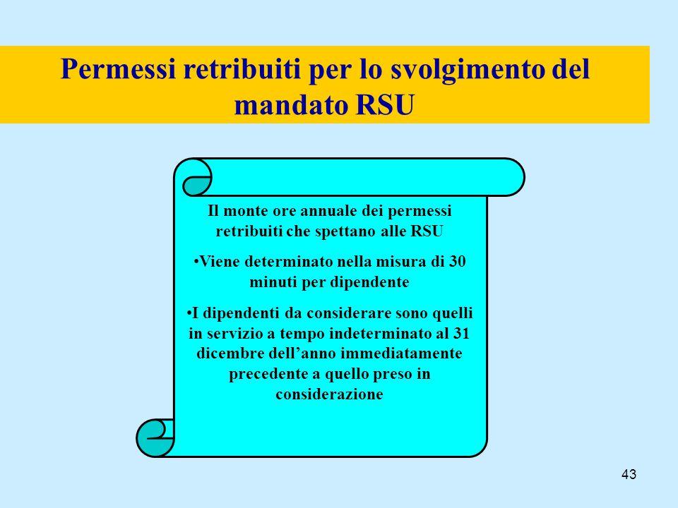 43 Permessi retribuiti per lo svolgimento del mandato RSU Il monte ore annuale dei permessi retribuiti che spettano alle RSU Viene determinato nella m