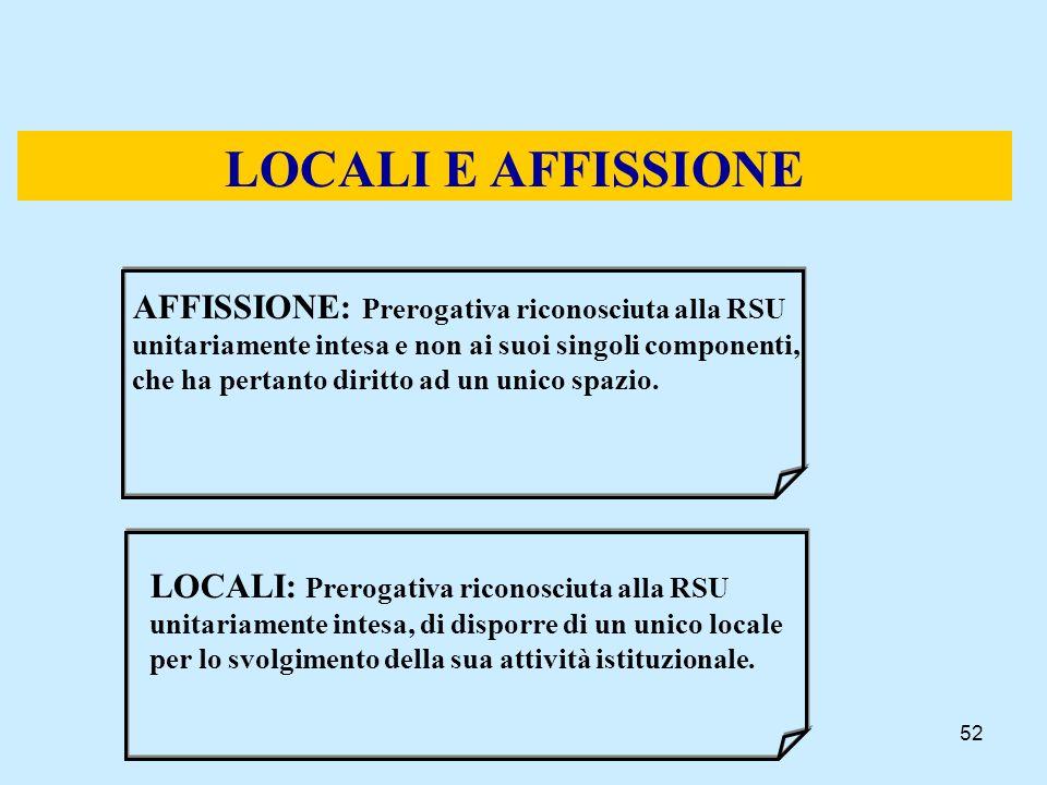 52 LOCALI E AFFISSIONE AFFISSIONE: Prerogativa riconosciuta alla RSU unitariamente intesa e non ai suoi singoli componenti, che ha pertanto diritto ad