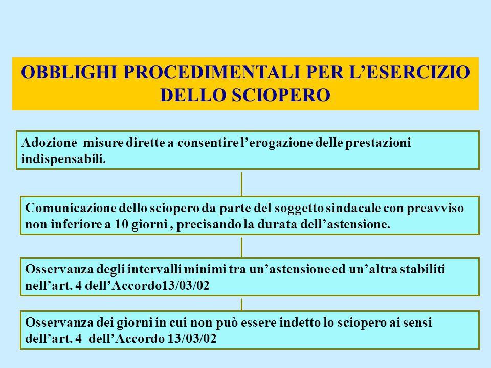 57 OBBLIGHI PROCEDIMENTALI PER LESERCIZIO DELLO SCIOPERO Adozione misure dirette a consentire lerogazione delle prestazioni indispensabili. Comunicazi