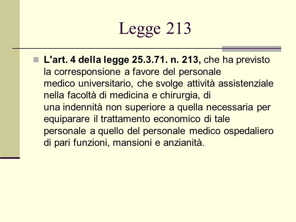 Legge 213 L'art. 4 della legge 25.3.71. n. 213, che ha previsto la corresponsione a favore del personale medico universitario, che svolge attività ass