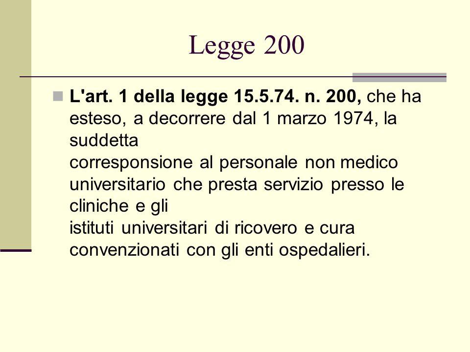 Legge 200 L'art. 1 della legge 15.5.74. n. 200, che ha esteso, a decorrere dal 1 marzo 1974, la suddetta corresponsione al personale non medico univer