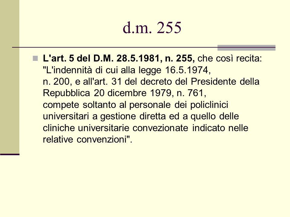 d.m. 255 L'art. 5 del D.M. 28.5.1981, n. 255, che così recita: