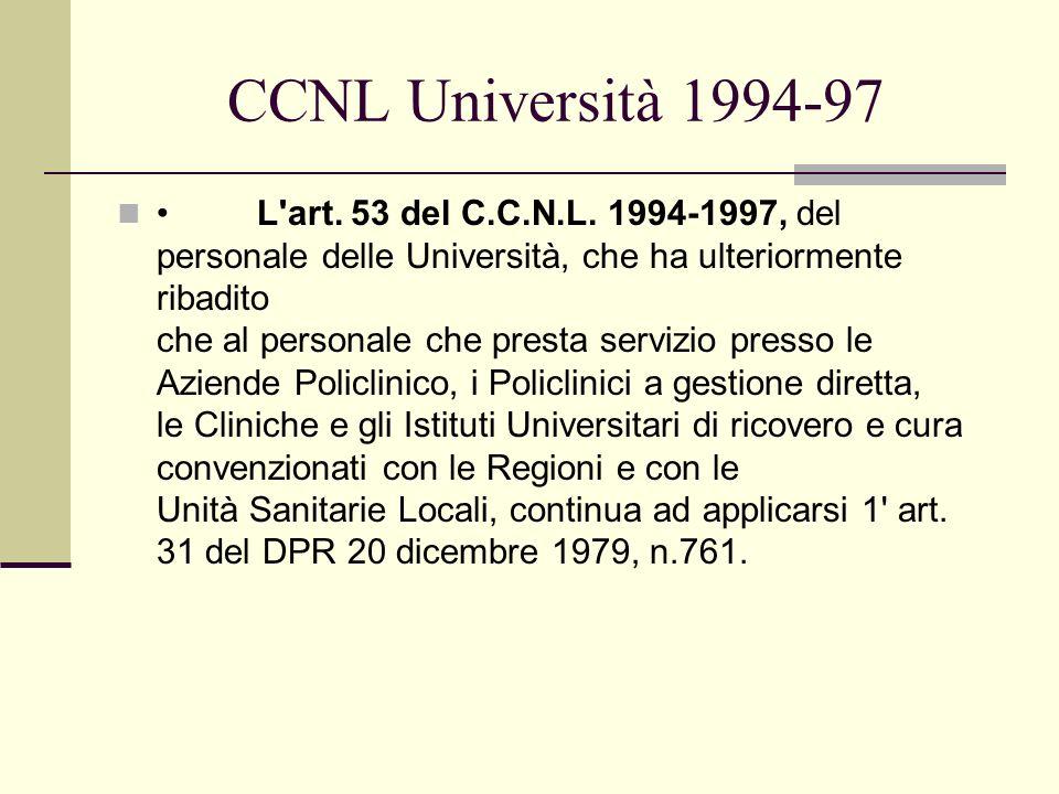 CCNL Università 1994-97 L'art. 53 del C.C.N.L. 1994-1997, del personale delle Università, che ha ulteriormente ribadito che al personale che presta se