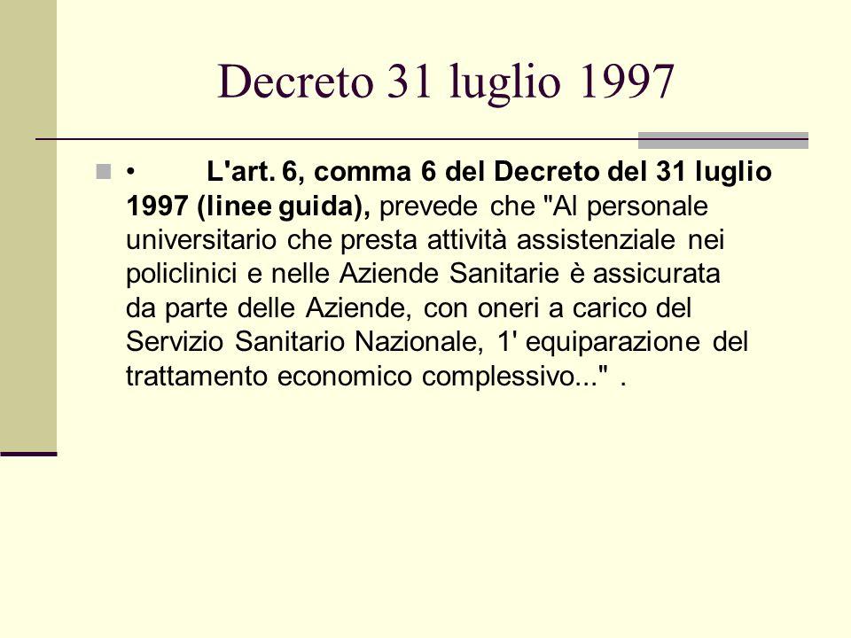 Decreto 31 luglio 1997 L'art. 6, comma 6 del Decreto del 31 luglio 1997 (linee guida), prevede che