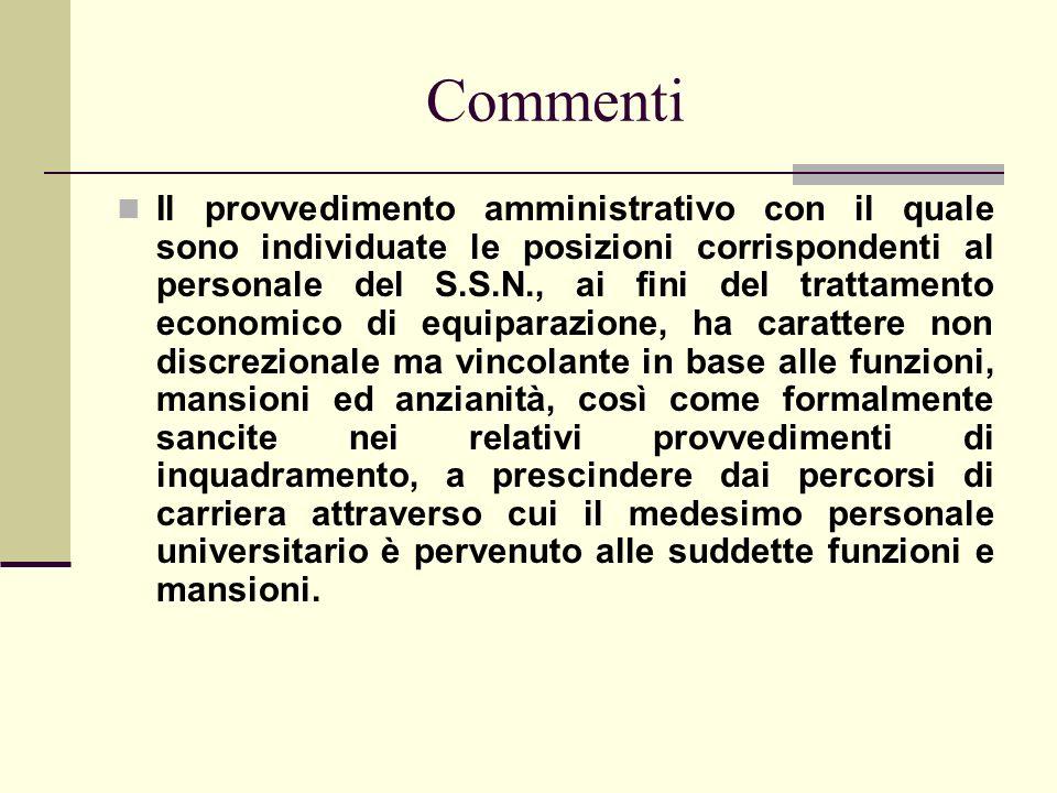Commenti Il provvedimento amministrativo con il quale sono individuate le posizioni corrispondenti al personale del S.S.N., ai fini del trattamento ec