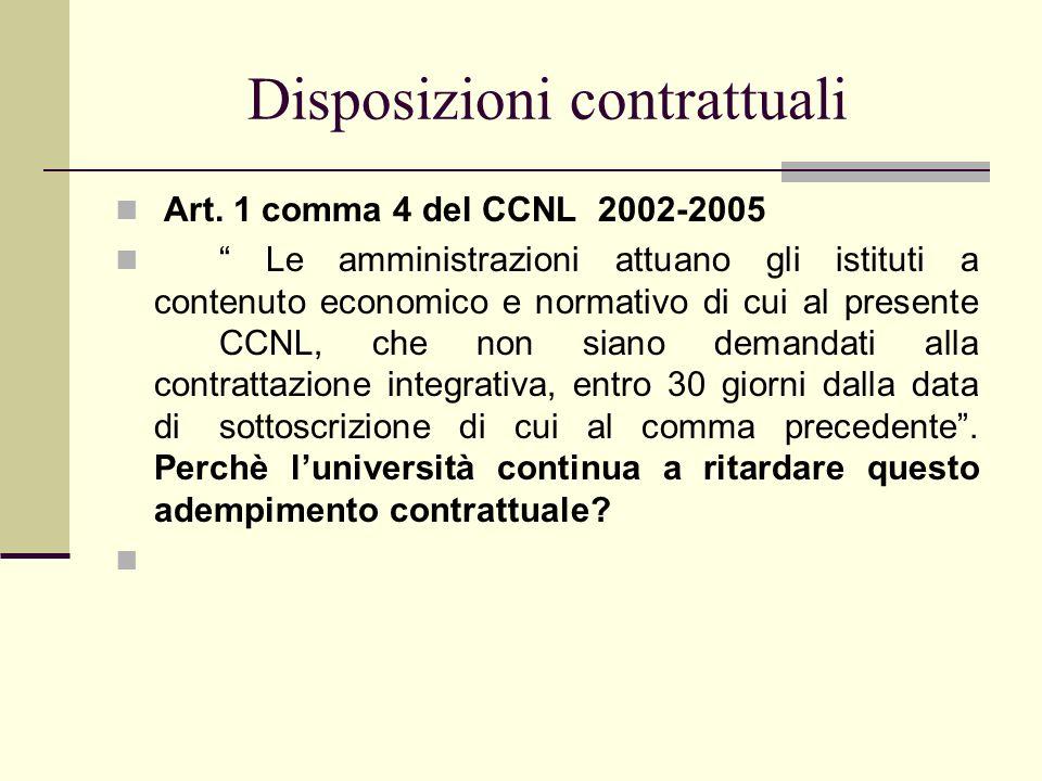 Disposizioni contrattuali Art. 1 comma 4 del CCNL 2002-2005 Le amministrazioni attuano gli istituti a contenuto economico e normativo di cui al presen