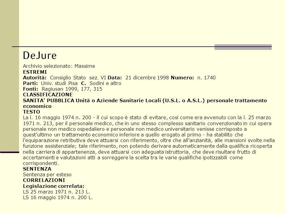 Archivio selezionato: Massime ESTREMI Autorità: Consiglio Stato sez. VI Data: 21 dicembre 1998 Numero: n. 1740 Parti: Univ. studi Pisa C. Sodini e alt