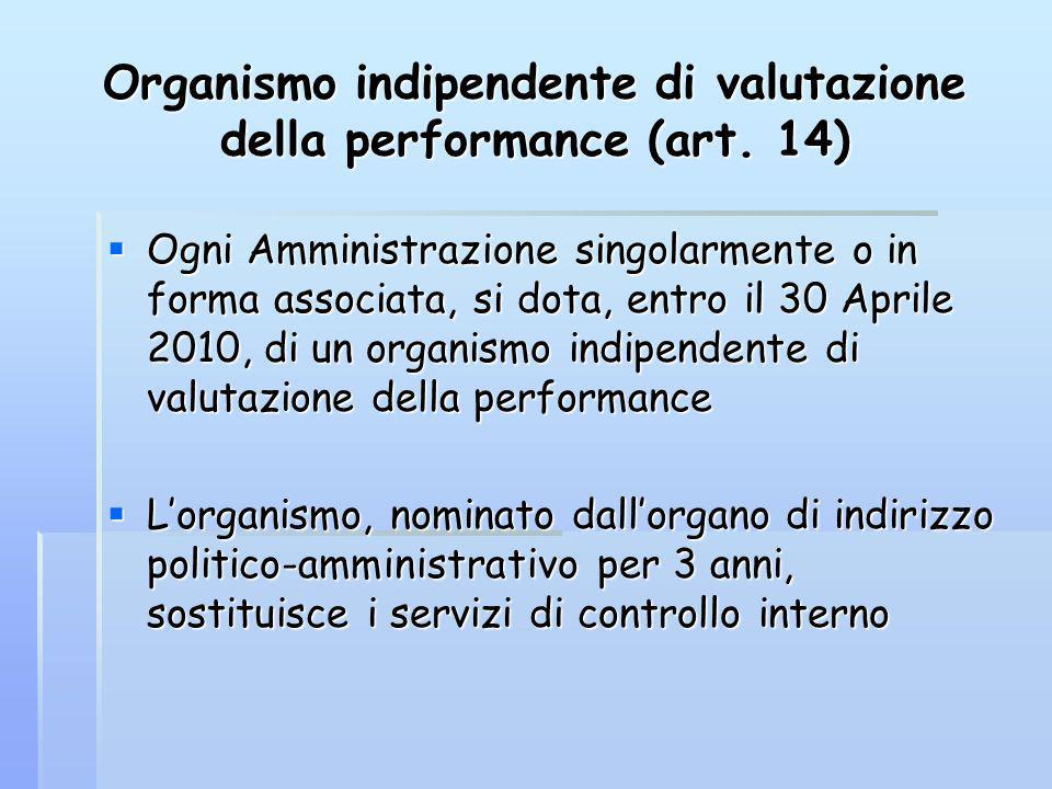 Organismo indipendente di valutazione della performance (art. 14) Ogni Amministrazione singolarmente o in forma associata, si dota, entro il 30 Aprile