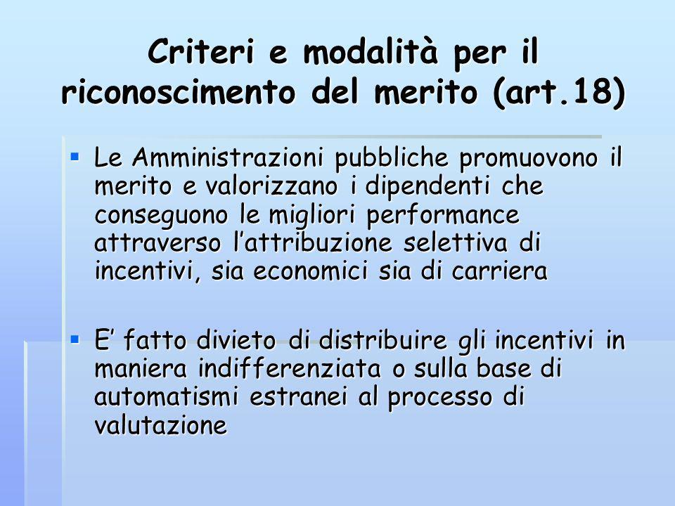 Criteri e modalità per il riconoscimento del merito (art.18) Le Amministrazioni pubbliche promuovono il merito e valorizzano i dipendenti che conseguo
