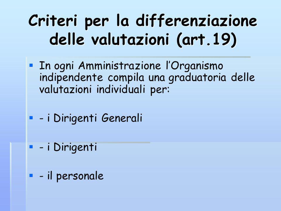 Criteri per la differenziazione delle valutazioni (art.19) In ogni Amministrazione lOrganismo indipendente compila una graduatoria delle valutazioni individuali per: - i Dirigenti Generali - i Dirigenti - il personale
