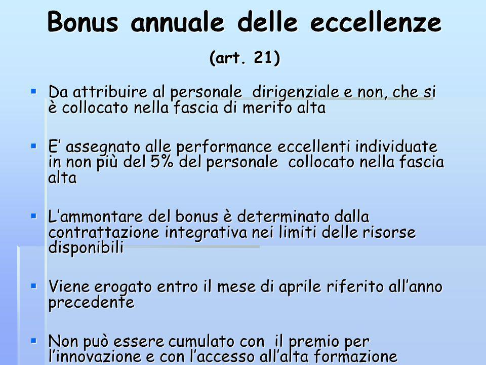 Bonus annuale delle eccellenze (art. 21) Da attribuire al personale dirigenziale e non, che si è collocato nella fascia di merito alta Da attribuire a