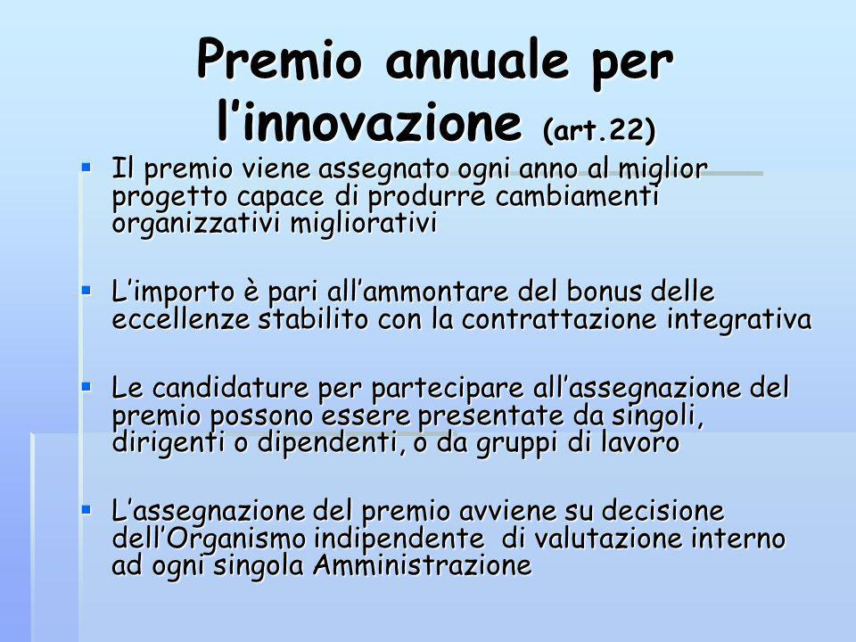 Premio annuale per linnovazione (art.22) Il premio viene assegnato ogni anno al miglior progetto capace di produrre cambiamenti organizzativi migliora