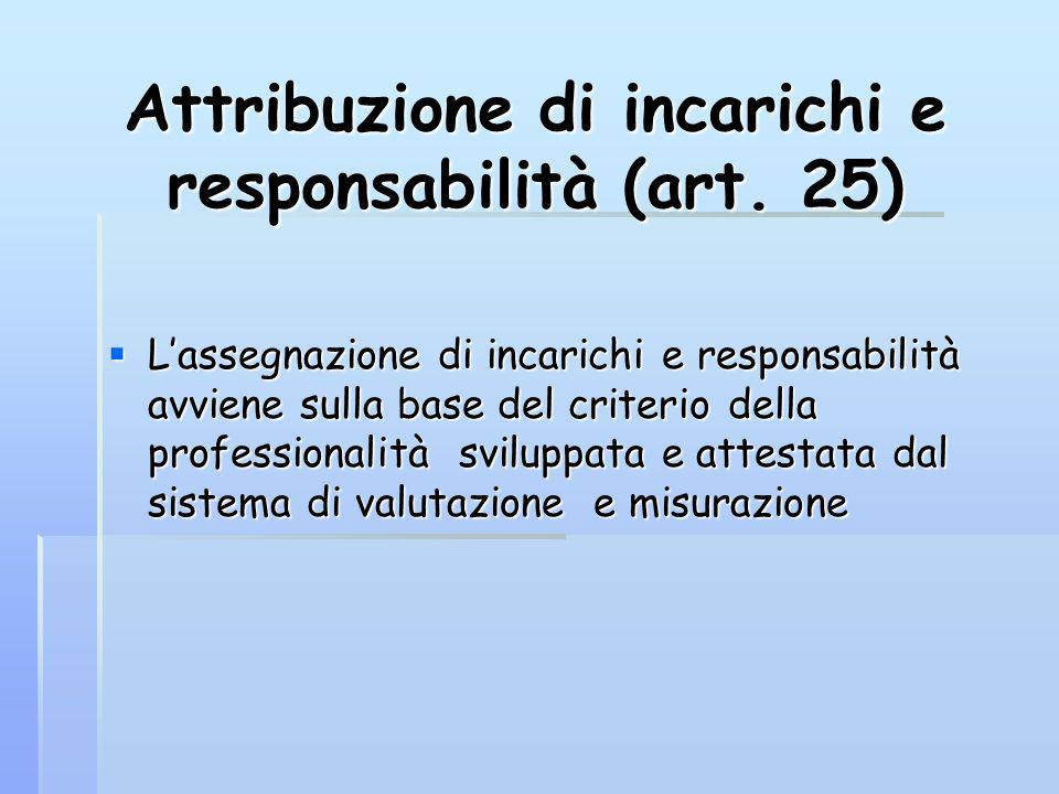 Attribuzione di incarichi e responsabilità (art. 25) Lassegnazione di incarichi e responsabilità avviene sulla base del criterio della professionalità