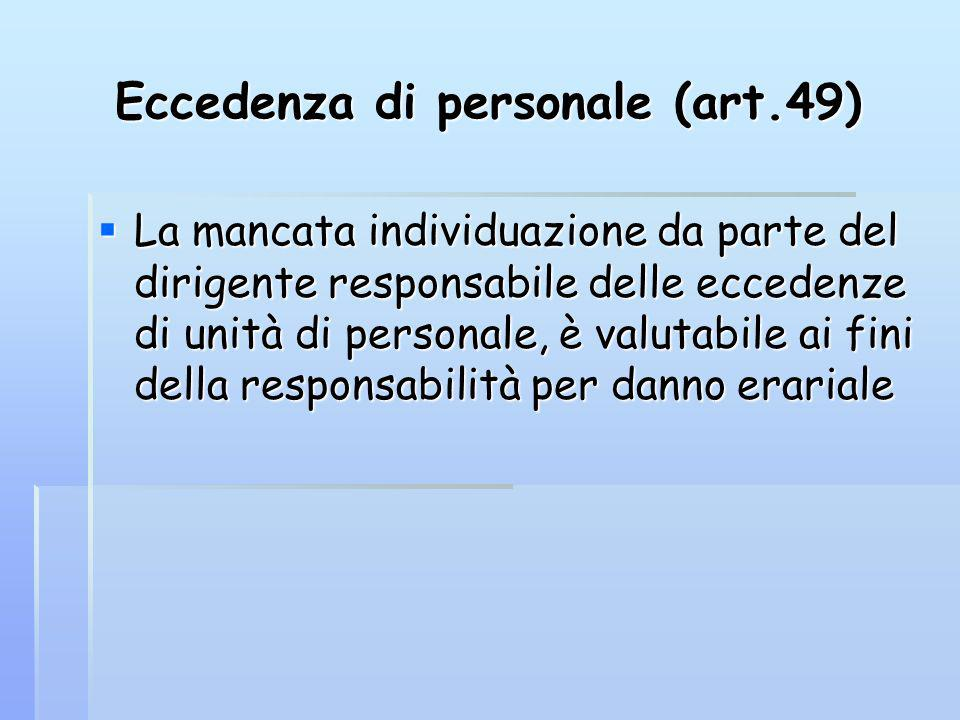 Eccedenza di personale (art.49) La mancata individuazione da parte del dirigente responsabile delle eccedenze di unità di personale, è valutabile ai fini della responsabilità per danno erariale La mancata individuazione da parte del dirigente responsabile delle eccedenze di unità di personale, è valutabile ai fini della responsabilità per danno erariale