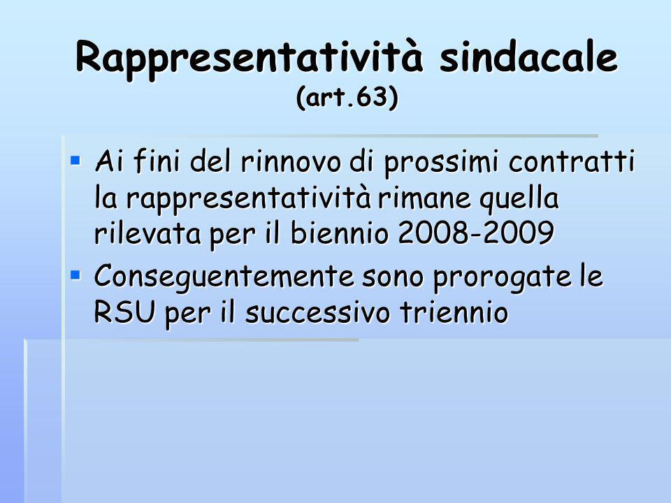 Rappresentatività sindacale (art.63) Ai fini del rinnovo di prossimi contratti la rappresentatività rimane quella rilevata per il biennio 2008-2009 Ai fini del rinnovo di prossimi contratti la rappresentatività rimane quella rilevata per il biennio 2008-2009 Conseguentemente sono prorogate le RSU per il successivo triennio Conseguentemente sono prorogate le RSU per il successivo triennio