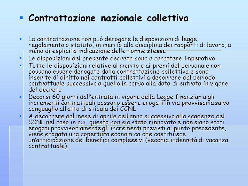 Contrattazione nazionale collettiva Contrattazione nazionale collettiva La contrattazione non può derogare le disposizioni di legge, regolamento o sta