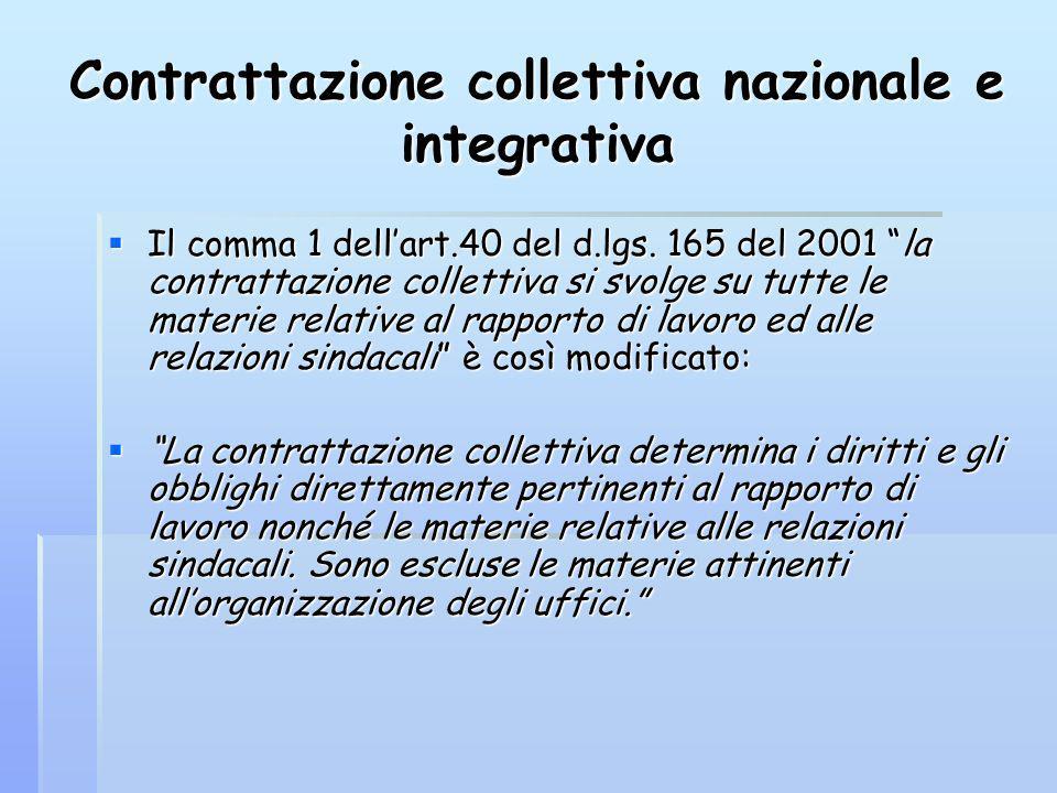Contrattazione collettiva nazionale e integrativa Il comma 1 dellart.40 del d.lgs. 165 del 2001 la contrattazione collettiva si svolge su tutte le mat