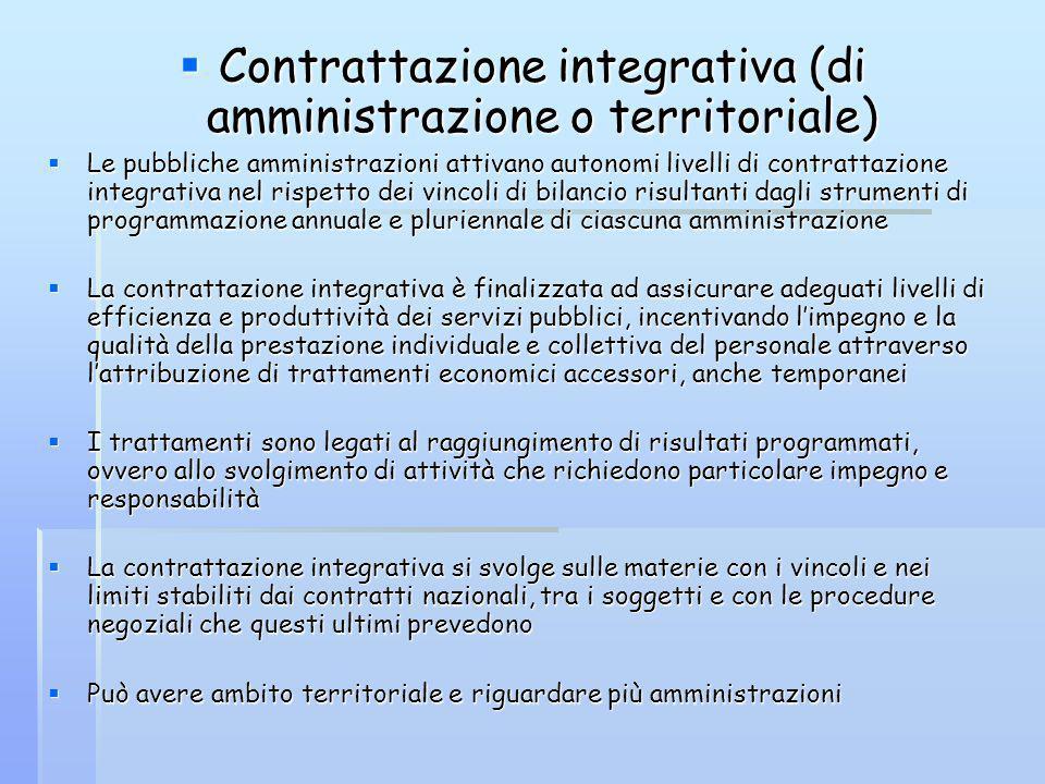 Contrattazione integrativa (di amministrazione o territoriale) Contrattazione integrativa (di amministrazione o territoriale) Le pubbliche amministraz