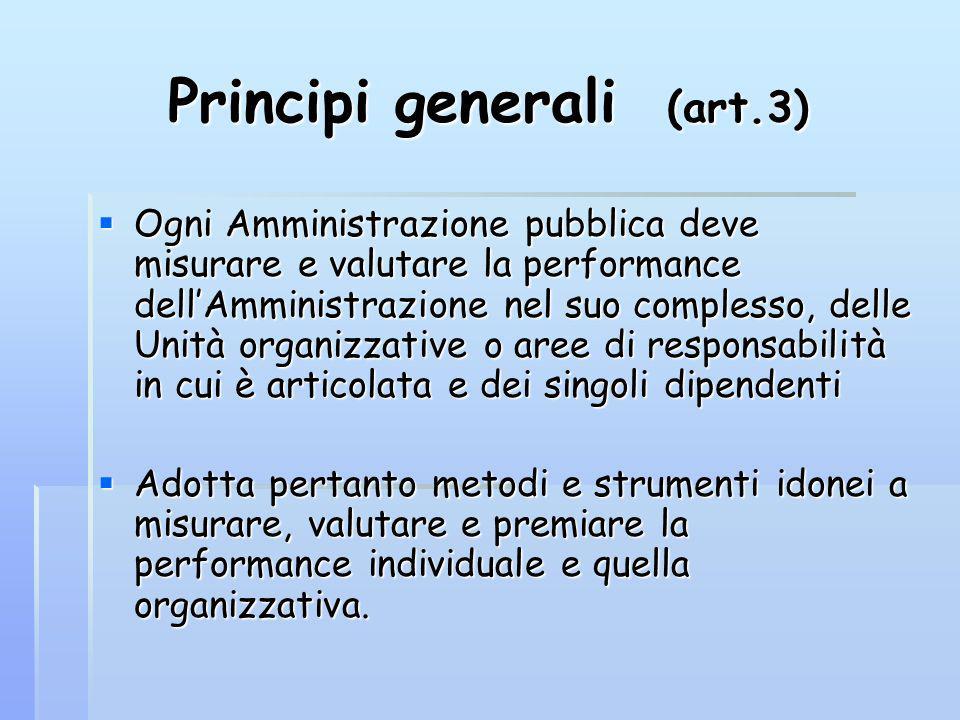 Principi generali (art.3) Ogni Amministrazione pubblica deve misurare e valutare la performance dellAmministrazione nel suo complesso, delle Unità org